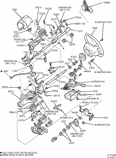 1992 bronco fuse box exploded view for the 2002 ford f 150 non tilt steering  exploded view for the 2002 ford f 150 non tilt steering