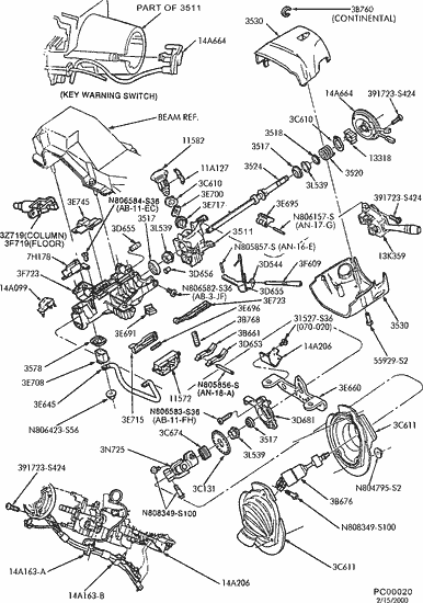 exploded view for the 2002 Ford Taurus tilt | Steering Column Services