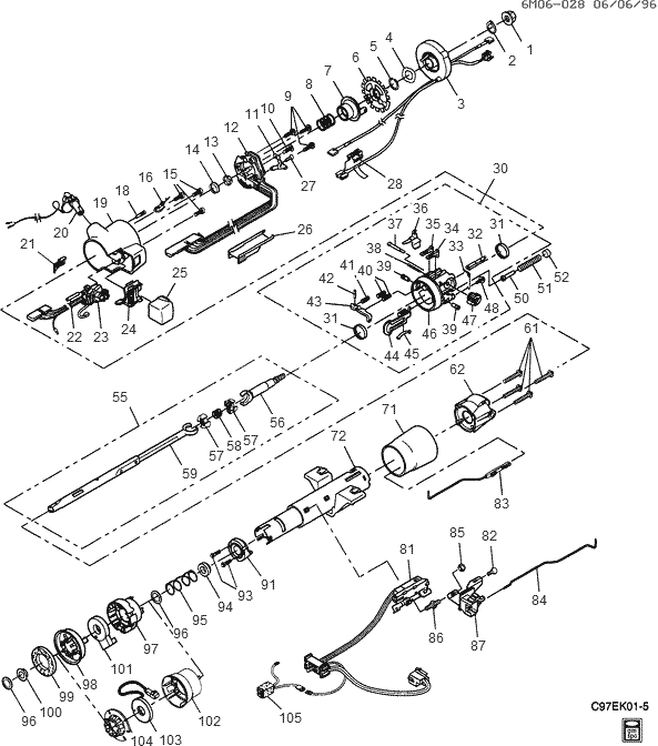 Exploded View For The 1997 Cadillac Deville Tilt