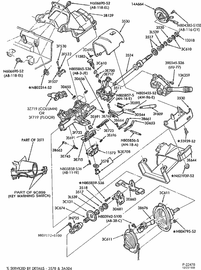 1994 ford ranger steering column diagram exploded view for the 1990 ford taurus tilt | steering ... #2