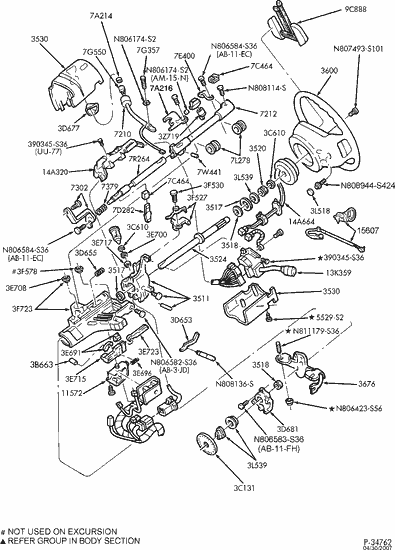 exploded view for the 2002 ford f250 non-tilt | steering column services  steering column services