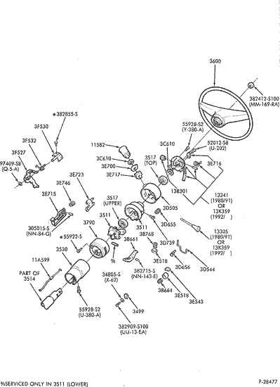 Exploded View For The 1990 Ford F 150 Tilt Steering Column Services