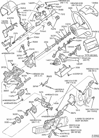 Exploded View For The 1994 Ford F 150 Non Tilt Steering