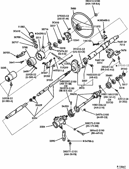 exploded view for the 1991 Ford F 150 Non-tilt | Steering ...