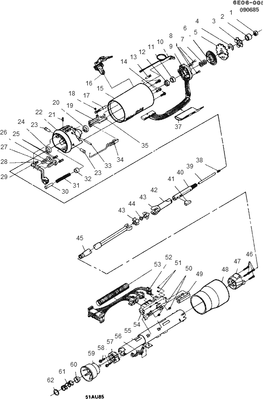 Exploded View For The 1989 Cadillac Eldorado Telescopic