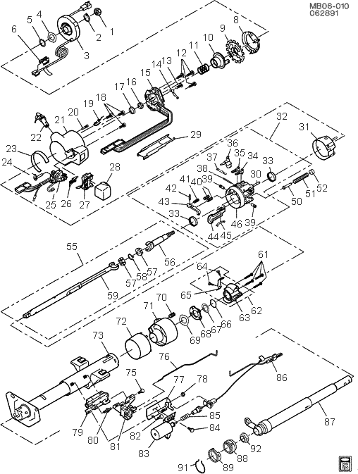 exploded view for the 1992 chevrolet caprice tilt