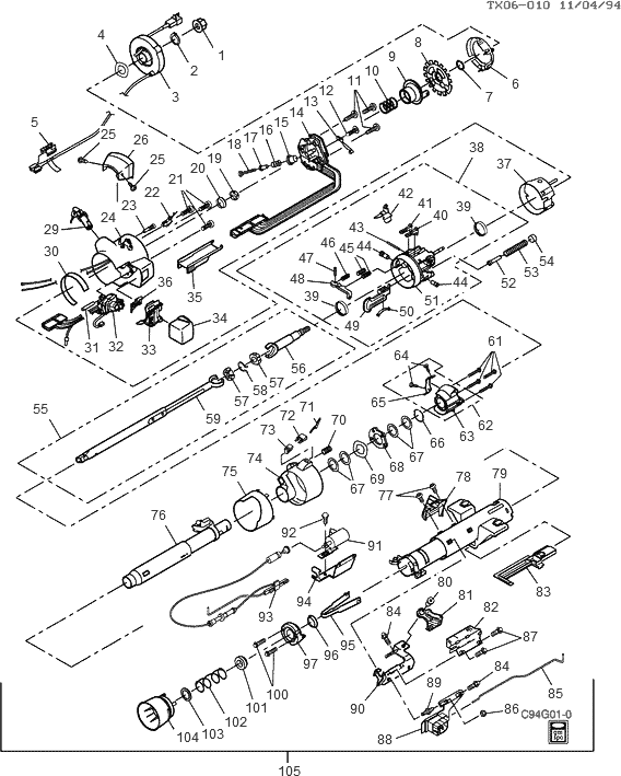 exploded view for the 1994 Chevrolet G Van Tilt      Steering