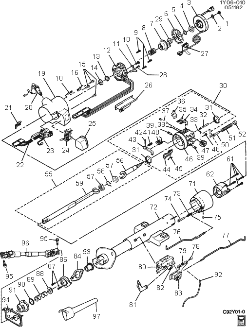 chevy truck steering column parts