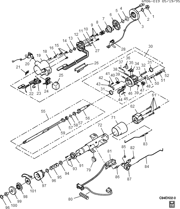 1998 cadillac eldorado wiring diagram exploded view for the 1994 cadillac eldorado non-tilt ...