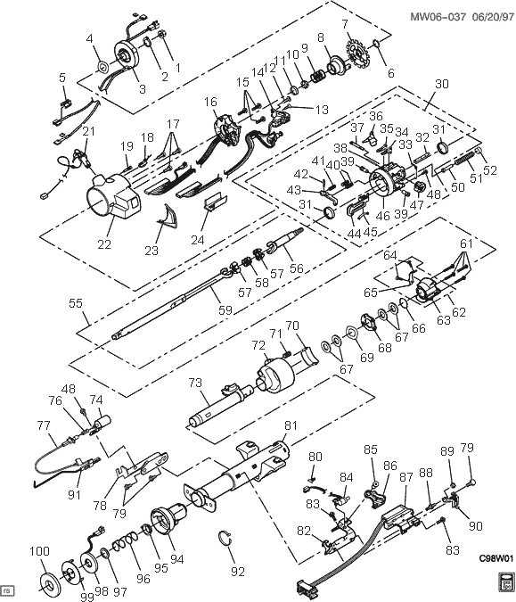 peterbilt steering column parts diagram great installation of Kenworth W900 Brake Diagram exploded view for the 1999 chevrolet lumina tilt steering column rh steeringcolumnservices ford steering column parts 70 chevy steering column diagram