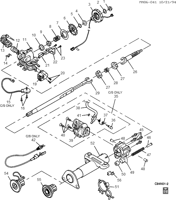 Exploded View Results on chevy steering column parts diagram