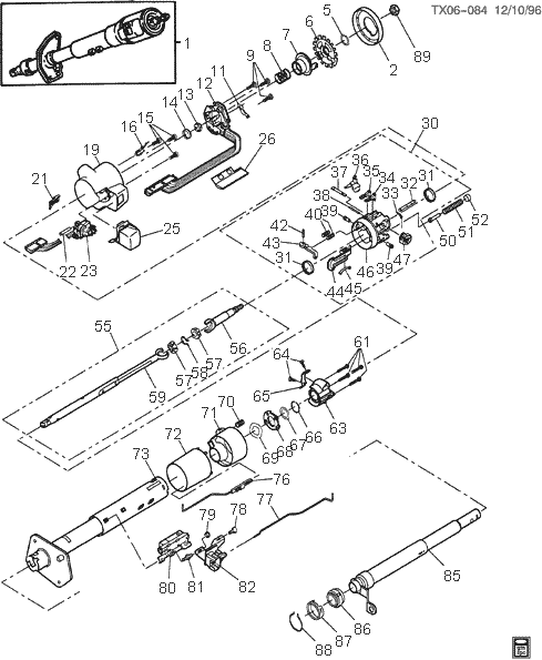 6084 steering column exploded views for ford, gm, dodge, chrysler, jeep 1989 Camaro Steering Column Diagram at suagrazia.org