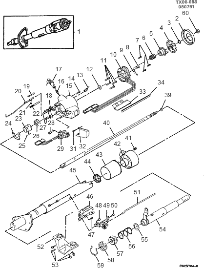 s10 steering wheel wiring schematics exploded view for the 1994 chevrolet s 10 non tilt steering  exploded view for the 1994 chevrolet s