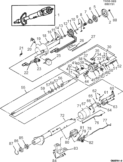 exploded view for the 1993 chevrolet s-10 tilt | steering column services 1993 chevy steering diagram #9