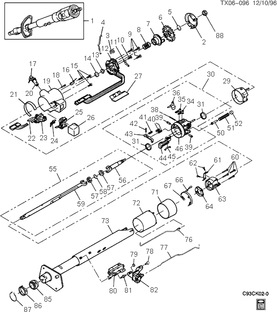 exploded view for the 1994 chevrolet pickup tilt