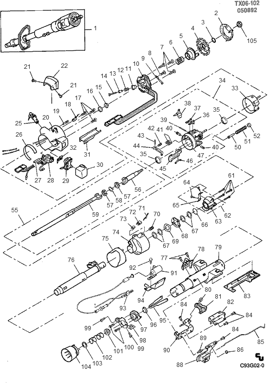 1988 chevy s10 steering column diagram