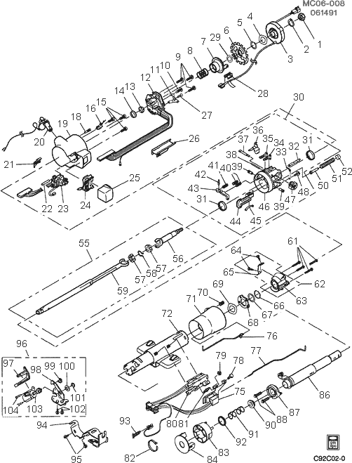 exploded view for the 1993 chevrolet pickup tilt