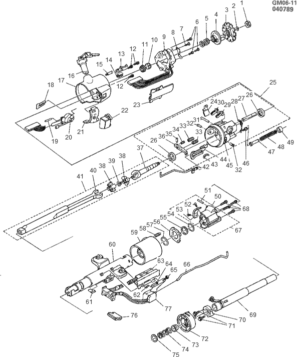 exploded view for the 1990 cadillac deville tilt steering column1990 cadillac  deville tilt column design