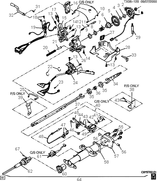 chevrolet steering column exploded view wiring diagrams