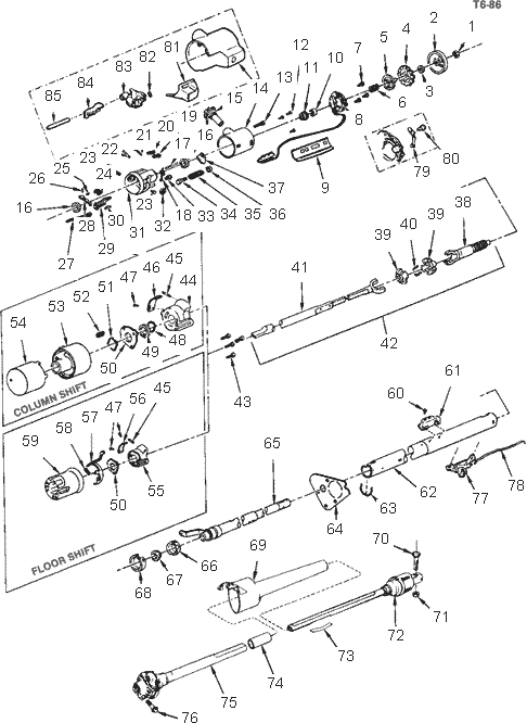 exploded view for the 1991 chevrolet pickup tilt