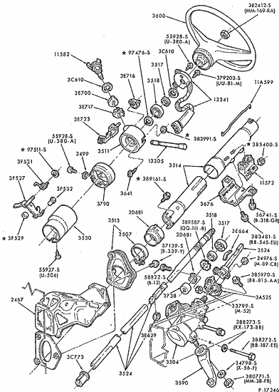 wiring diagram for 1986 ford f250 exploded view for the 1986 ford f250 non tilt steering column  exploded view for the 1986 ford f250