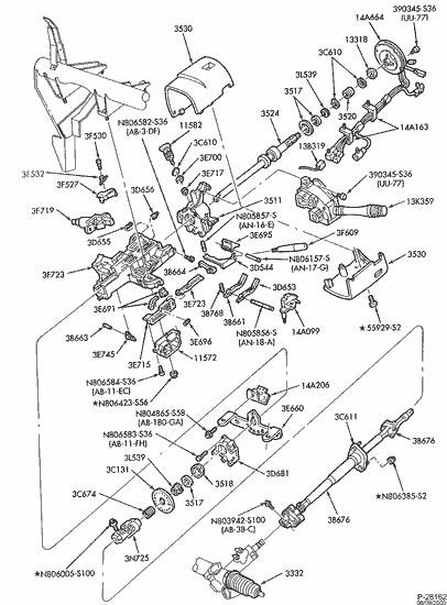 97 F250 Steering Column Diagram