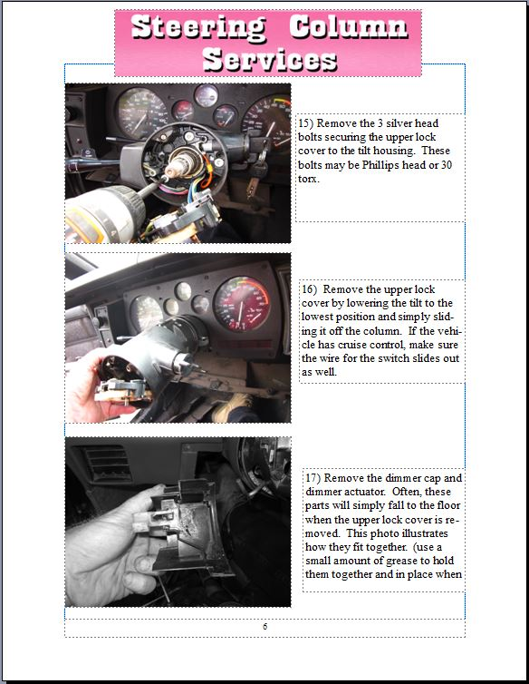 instruct steering column parts, replacement, & how to instructions Basic Electrical Wiring Diagrams at fashall.co